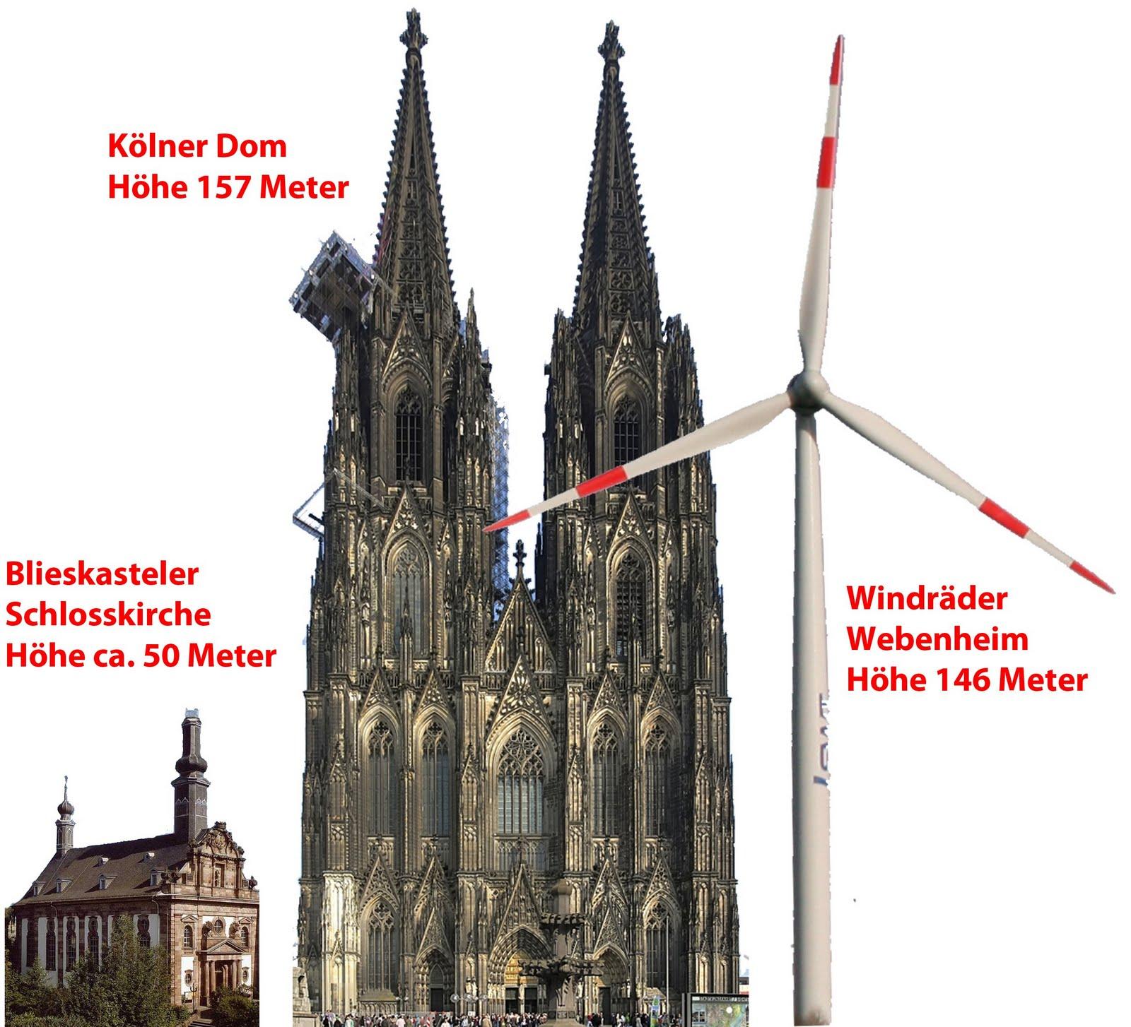Größenvergleich Schloßkirche – Kölner Dom -WEA