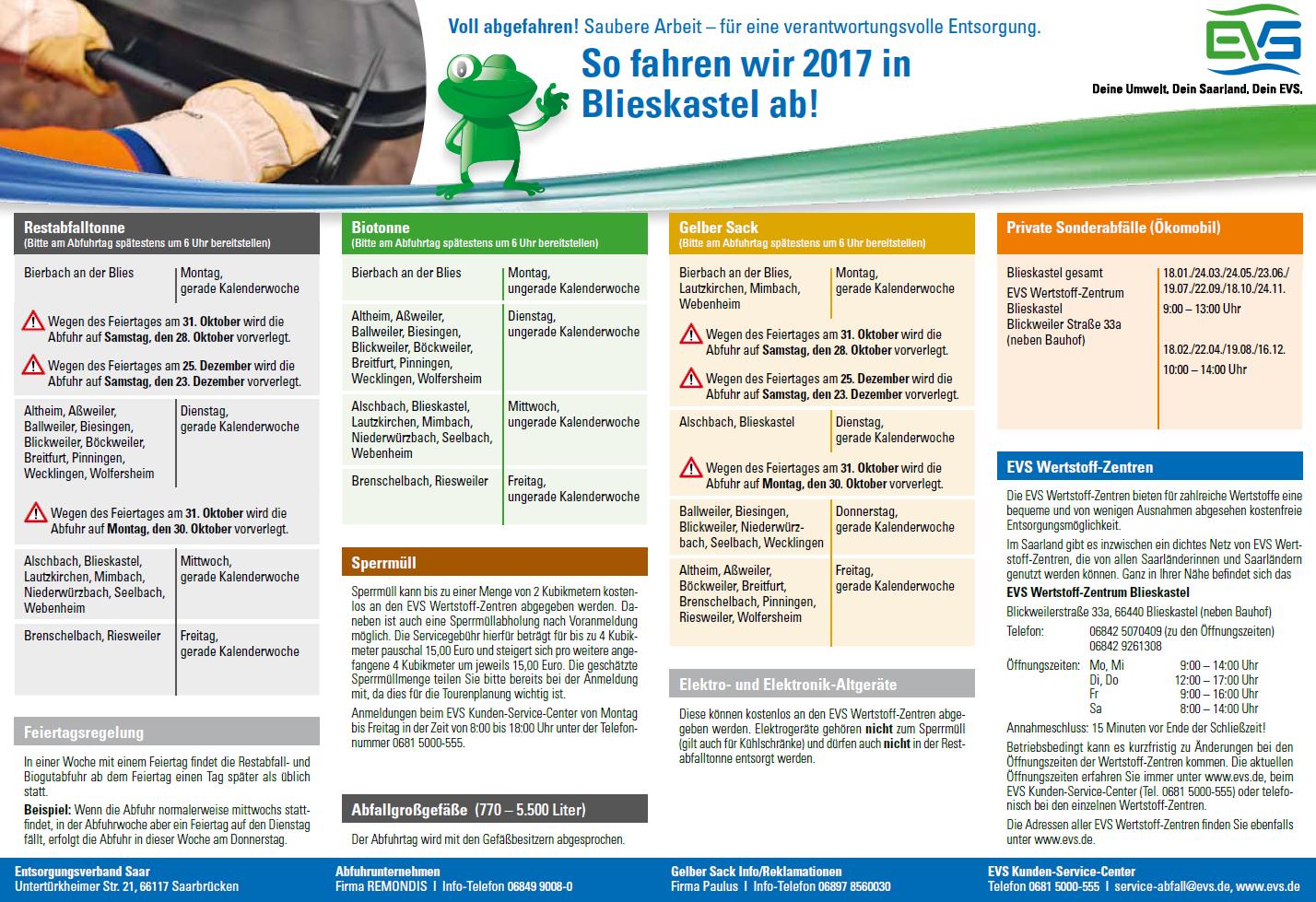 Müllabfuhr Termine 2017 Blieskastel